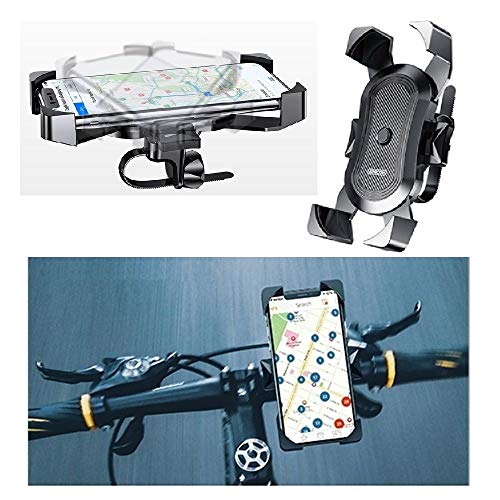 DFV mobile - Phone Holder Support for Bicycle and Motorcycle Handlebars Automatic and Swivel 360 for realme X50 Pro 5G (2020) - Black