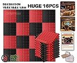 Ace Punch 16 Paquete 2 Colores Espuma Pirámide de Combinación Acústica Panel Para Aislamiento Acústico de Sonido de Tratamiento de Amortiguadores con Cinta de 50 x 50 x 5 cm Negro y Rojo AP1034