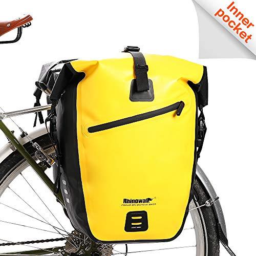 Rhinowalk Bike Bag Waterproof Bike Pannier Bag 27L,(for Bicycle Cargo Rack Saddle Bag Shoulder Bag Laptop Pannier Rack Bicycle Bag Professional Cycling Accessories)-Yellow