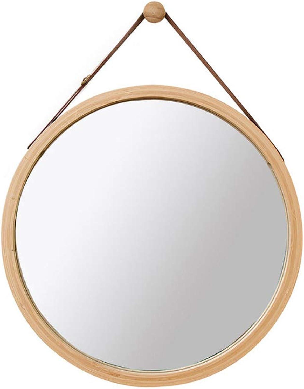 Lyqqqq Nordic Bamboo color Bathroom Mirror Wall Hanging Large Round Mirror Decorative Hanging Mirror Diameter 45cm