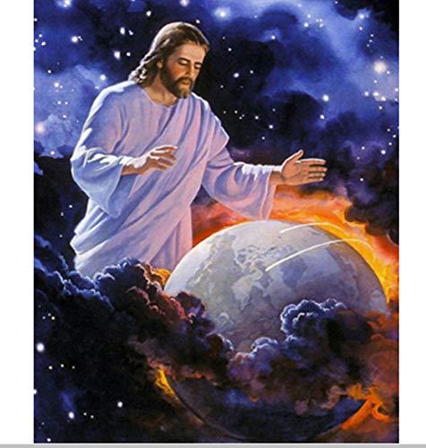 MOL 5D schilderij om te knutselen van Jezus Abarm Terra hars borduurwerk kruissteek mozaïek decoratie van Rhinestone schilderij 45x60cm