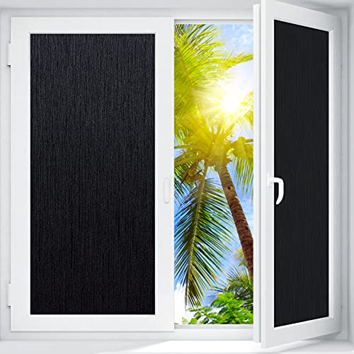 "Coavas Window Films Blackout Silk Privacy Static Cling Glass Sticker Total Cover for Kids Room Darkening Window Tint 100% Light Blocking for Day Sleep No Glue Baby Nap Security (Black, 17.5""x78.1"")"