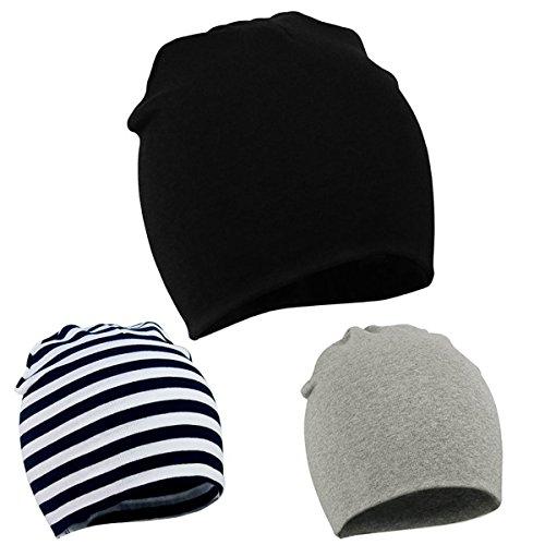 Durio Baby Mütze Unisex Babymütze Junge Mädchen Kleinkind Wendemütze Jersey Slouch Beanie Frühling Hut 3er Pack Schwarz Streifen u. Hellgrau 0-12 Monate