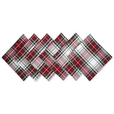 DII Oversized 20x20  Cotton Napkins, Pack of 6, Christmas Plaid - Perfect for Dinner Parties, Christmas, Holidays, or Everyday use