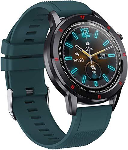 DHTOMC Relojes inteligentes para hombres y mujeres 1.3 pulgadas Full Touch HD pantalla a color IP68 impermeable fitness tracker reloj con función de notificación de mensajes-Azul