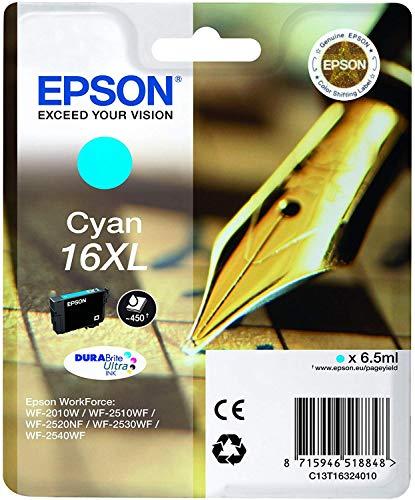 Cartucho De Tinta Epson 16 Xl 6,5 Ml Cian, paquete estándar, XL válido para los modelos WF-2010W, WF-2510WF, WF-2520NF, WF-2530WF, WF-2540WF y otros