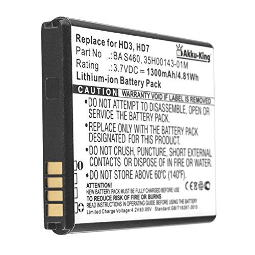 Akku-King Akku kompatibel mit HTC BD29100, BA-S460, S540 - Li-Ion 1300mAh - für HD7, Grove, Wildfire S, A310e, T9292