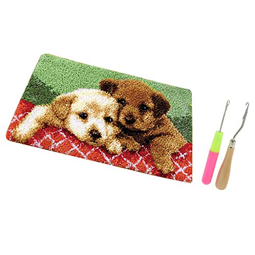 F Fityle Kits de Alfombrilla con Gancho de Cierre con Patrón de Cachorros con 2 Ganchos de Cierre para Principiantes, Niños Y Adultos