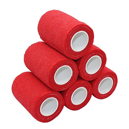 COMOmed selbstklebender verband elastische binde handgelenk bandage pflaster rolle Dog Bandagen Tierische Bandagen Rot 7.5 cm X 6 Bände