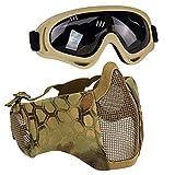 AOUTACC Airsoft - Juego de máscaras de malla de media cara con protección para los oídos y gafas para CS/caza/paintball/Shooting (MA)