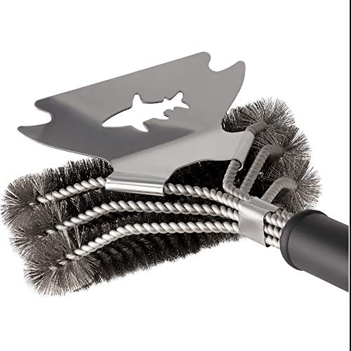 Shark BBQ Grill Cleaner Wire Brush with Scraper - Made with 304 Stainless Frame - a Never-Rust BBQ Cleaning Tool Grill Grate Cleaner New 2021 Model