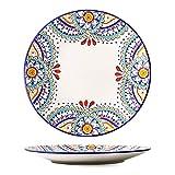 LYJ Platos de postre laterales de porcelana Juego de platos mediterráneos Cuenco y placa Combinación Cerámica Postre/ensalada/fruta plato (múltiples estilos disponibles), D
