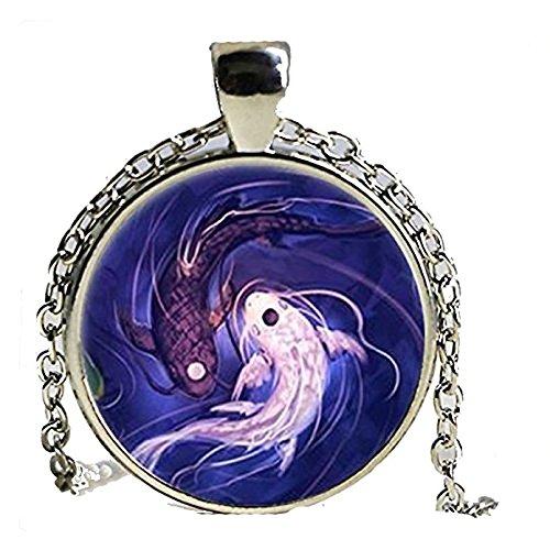 Ying and Yang - Collar de plata con cúpula de cristal para hombre y mujer