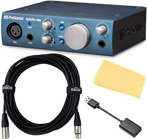 PreSonus AudioBox iOne 2x2 USB Audio Interface Bundle with 10ft Gearlux XLR Cable USBC Adapter and Austin Bazaar Polishing Cloth