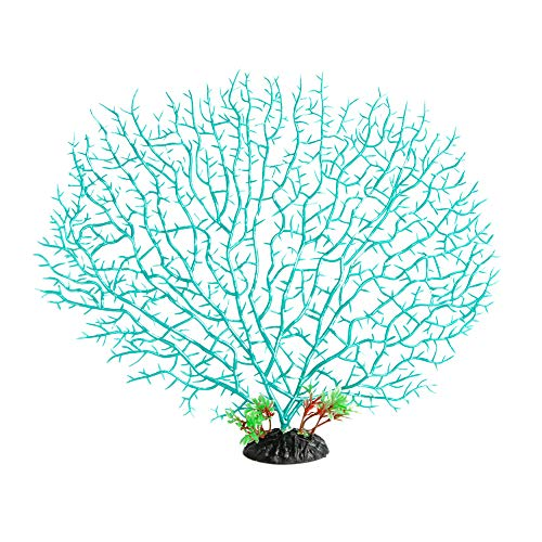 Quickun Artificial Coral Plant Ornament Glowing Effect Silicone Artificial Decoration for Fish Tank, Aquarium Landscape (Cyan)
