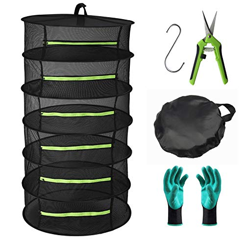 Seropy Herb Drying Rack 6 Layer Collapsible Mesh Hanging Drying Net with Zipper 2ft Drying Rack with Garden Gloves Pruning Scissors Hook for Drying Seeds Herb Bud Hydroponic Plants24x47