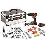 BLACK+DECKER BDCHD18AS2F-QW - Taladro percutor 18V con set de 200 accesorios, 2 baterías de litio 1.5Ah y caja de herramientas