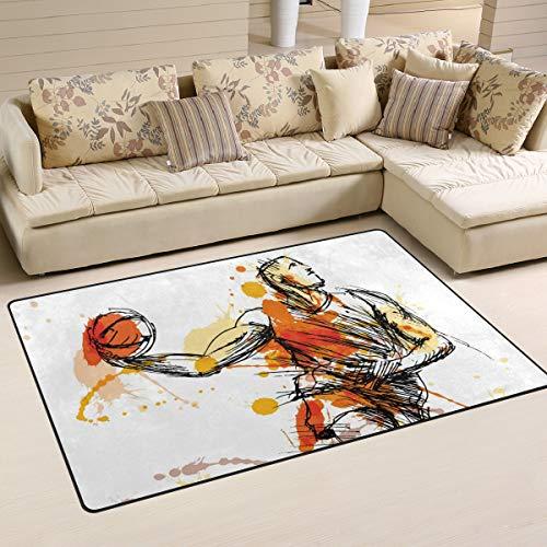 LZXO Teppich für Wohnzimmer, Aquarell, Sport, Basketball, strapazierfähiger Teppich, Schlafzimmer, Fußmatte, 152 x 100 cm, Polyester, multi, 31x20in