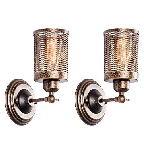 Wall Sconce Industrial Vintage Light 2 Pack, MOONKIST Rustic Fixtures Edison Style Wall Light LED Retro Metal Single Head for Garage Gate Porch Adjustable Wall lamp Cage Nets (No Bulb)