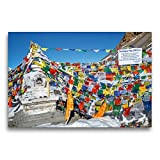 CALVENDO Premium Textil-Leinwand 75 cm x 50 cm quer, Bunte Gebetsfahnen hängen an Einer Stupa am Thorong-la Pass | Wandbild, Bild auf Keilrahmen, Fertigbild Himalaya, Nepal Orte Orte