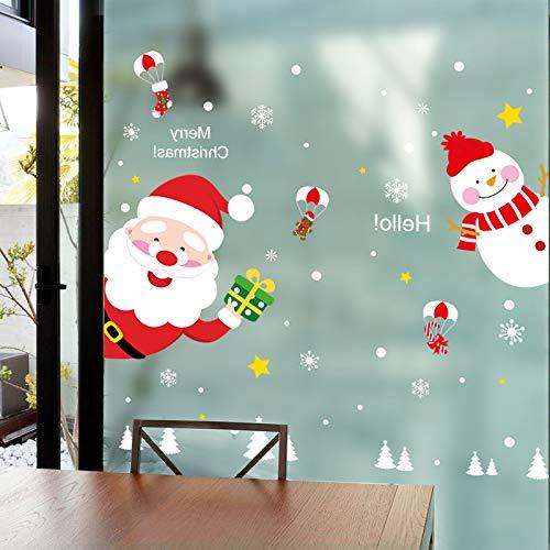 Santa Claus Bonhomme De Neige Gass Autocollants Creative Diy Noël Stickers Muraux Pour Le Salon Boutique Fenêtre Décoration