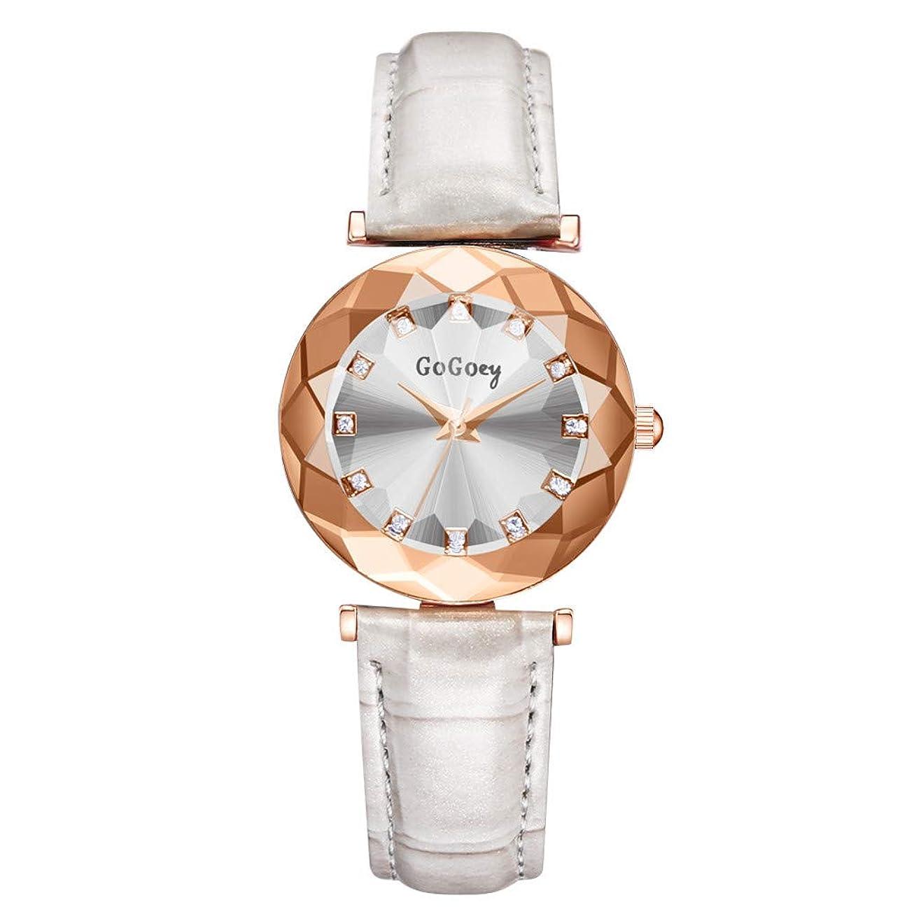 怒っているファン接続Waminger[ワミナー] 腕時計 人気 ガールズ レディース 軽量 おしゃれ 魅力的 キラキラ 誕生日高級 菱形凸ガラス ファッション ダイヤモンド レザーストラップ安い 高級感 さわやか ウオッチ(ホワイト)