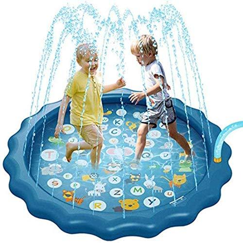 Kinderplanschbecken,Aufblasbare Spritzer mit Spritzschutz, Lustiger Gartenbrunnen Spielmatte Außerhalb des Wassers Spielzeug für Kinder für Jungen Mädchen Kinder Zahlen Lernen