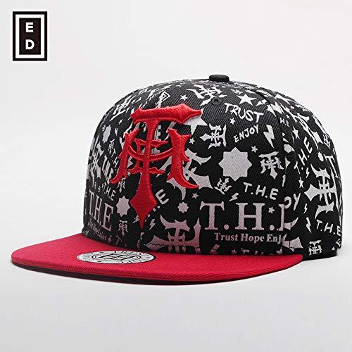 sdssup Hut Baseballmütze Herren und Damen Flache Mütze schwarz mit rot verstellbar