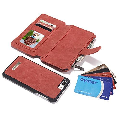 Qilo Titular de la tarjeta de cuero interruptor 13 Ranura for tarjeta Monedero desmontable magnética del caso del soporte con Estaca cubierta for Apple IPhone 8 / SE 2020/7 2 en 1 caja de la carpeta C