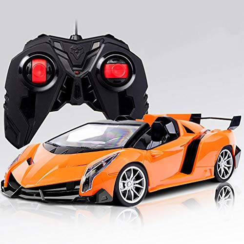Coche deportivo de control remoto para niños - Lamborghini - relación 1:16, luces LED, cuerpo de carrera 28cm, coche de juguete con control remoto - Regalos para niños y niñas - 27Mhz (naranja)