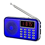 YMDJL Portable AM FM Radio with Bluetooth Speaker and SD Card Player,MP3 Player with Headphones Socket,Auto Scan Save,Rechargeable Battery Transistor Radio (Blue)