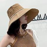 HUT Mode Damen Sommer Sonnenhut erhöhen Hutrand Sonnenhut Hat Faltbarer Sonnenhut Fischer Strand Stoffhut (Color : E, Size : F)