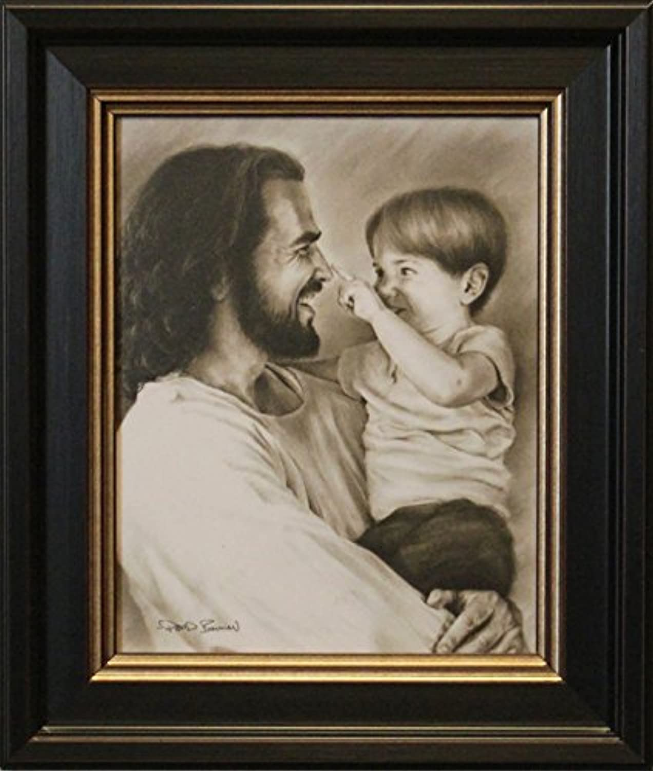 Artaccents Framed Picture of Jesus holding Little Boy,Innocence by David Bowman