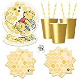 Winnie The Pooh Birthday Party Pack for Up to 16 Guests With Plates, Napkins, Cups, Yellow Straws and Pin by Another Dream