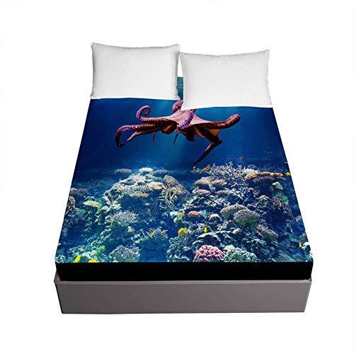 Bedclothes-Blanket Enkelsäng med king size-säng 3D-bläckfisk trycksäng trycksäng mikrofiberplatta med 30 cm djup väska-200 x 200 x 30 cm_oceankorall