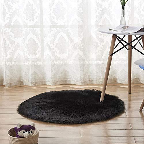 CULASIGN Faux lamsvel schapenvacht tapijt, pluizig nepbont in lamsvacht, tapijt, langhair-vacht optiek imitatie wol bedmatje sofa mat (zwart, 60 cm)