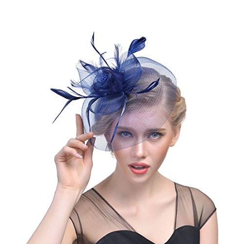 JZK Fiore retina piume velo fascinator blu scuro con cerchietto & mollette copricapo cerimonia matrimonio festa cocktail banchetto retro