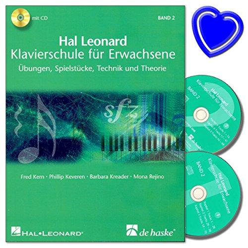 Hal Leonard Klavierschule für Erwachsene Band 2 mit 2 CDs - Übungen, Spielstücke, Technik und Theorie - mit bunter herzförmiger Notenklammer