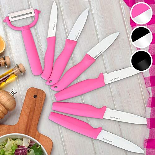 Jago Messerset 7-Teiliges - Rostfreier Stahl und Keramikbeschichtung - Steakmesser, Schälmesser, Obstmesser, Sparschäler, Küchenmesser