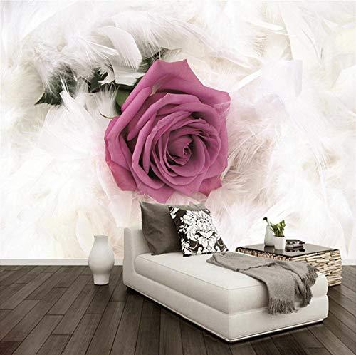 Mural de fotos personalizado moda moderna flor rosa arte pintura de pared sala de estar TV papel tapiz de fondo para paredes de dormitorio 3D-2