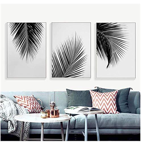 Palme Blätter Leinwand Poster Drucke Minimalistische Malerei Wandkunst Dekorative Bild Nordischen Stil Wohnkultur 60x80 cm Gerahmte blätter