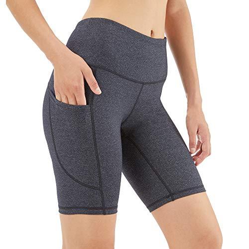 Scicent Tiefes Hanfgrau Damen Sport Shorts Leggings Yoga Hose mit Taschen Blickdicht Yogahose Kurze Sporthose für Sport Laufen Yoga S