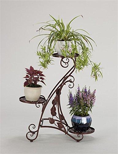 LX étagère à fleurs Étagère de pot de fleur de plancher 3-niveau européen, support de plante, support de fleur pour la décoration de jardin, salon, balcon, intérieur Rack de rangement Support de pots intérieur extéri ( Couleur : Bronze )