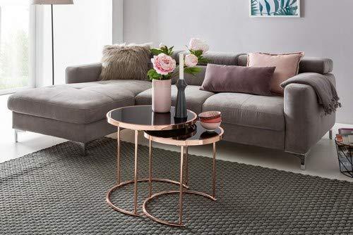 WOHNLING Design : Table d'appoint en Verre et métal Noir et cuivre - Diamètre : 42 cm - Diamètre : 45 cm - Table d'appoint Miroir - Table de Salon Moderne - Table Basse Ronde en Verre