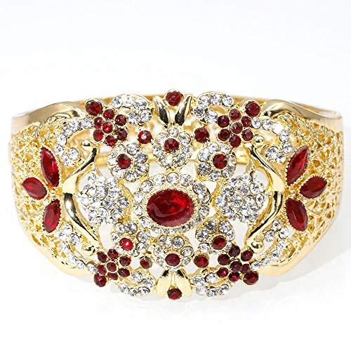Armband,Indische Hochzeit Armreif Für Frauen Farbe Gold Dubai Damen Blume Manschette Schmuck Marokko Ethnischen Armband Rot