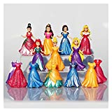 Red Peony Wangweiming 14pcs / Lot Dibujos Animados Disney Princess Snow White Mermaid Cinderella Action Figure Figura con el Vestido de Clip Magic Los Mejores Juguetes para niños para niñas WWM