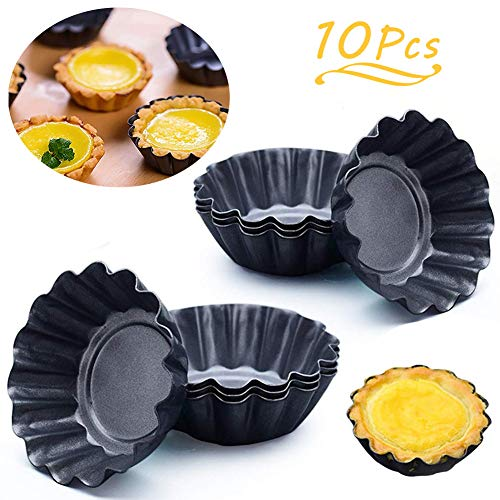 WENTS Cupcake Muffin Form 10 Stück Mini Tarteform Eierkuchenform Torteletts Törtchenformen DIY verdickte Ei Torte Form Runde Mini geriffelte Torte Dosen Antihaft 2,6 Zoll
