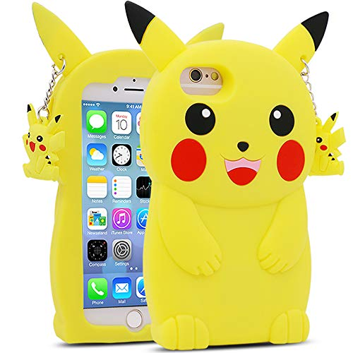 BEFOSSON Cute Cartoon Pikachu Hülle für iPhone 6/iPhone 6S für Kinder Jungen Teenager Mädchen, iPhone 6/iPhone 6S Funny 3D Kawaii Gelb Pikachu Soft Silikon Rubber Phone Cover Case (4,7 Zoll)