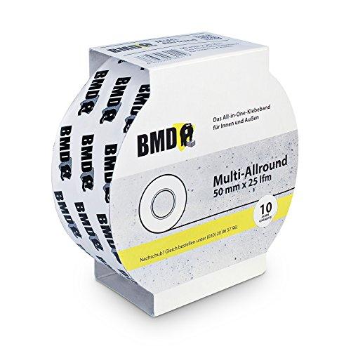 BMD-Multi-Allrounder Klebeband (Weiss - 50 mm x 25 lfm) zur Verklebung von Unterspannbahn Unterdeckbahn Schalungsbahn Fassadenbahn Dampfbremse Dampfsperre Dampfsperrfolie Dampfbremsfolie