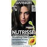 Garnier Nutrisse Ultra Coverage Hair Color, Deep Soft Black Hair Dye (Black Sesame) 200, Pack of 1